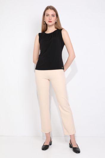 Women's Collar Pleated Sleeveless Blouse Black - Thumbnail