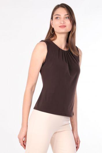 MARKAPIA WOMAN - Женская Блуза Без Рукавов Плиссированные Воротник Горько-Коричневый (1)