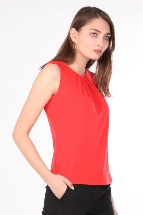 Women's Collar Pleated Sleeveless Blouse Orange