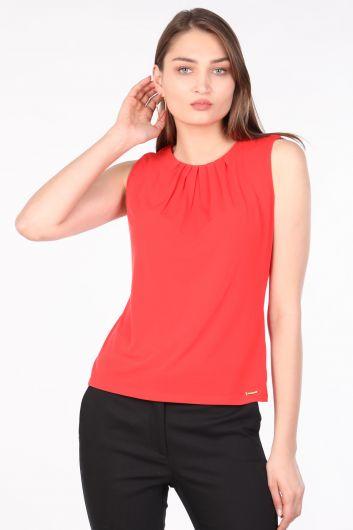 Женская блуза без рукавов со складками и воротником оранжевая - Thumbnail