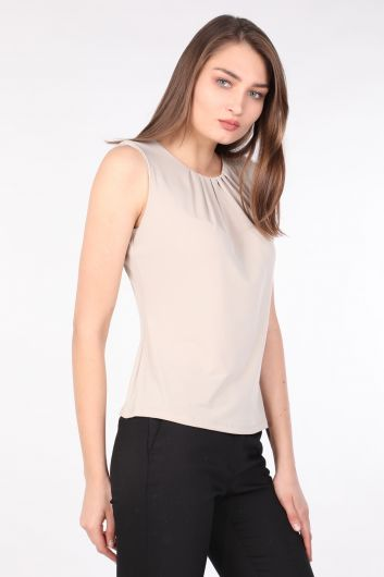 MARKAPIA WOMAN - Women's Collar Pleated Sleeveless Blouse Stone (1)
