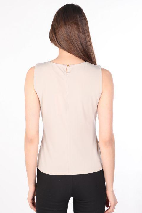 Women's Collar Pleated Sleeveless Blouse Stone