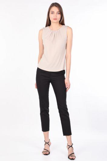 Women's Collar Pleated Sleeveless Blouse Stone - Thumbnail