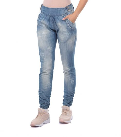 BLUE WHITE - Women's Gathered Baggy Jean Trousers (1)
