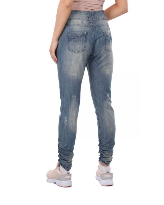 Women's Gathered Baggy Jean Trousers
