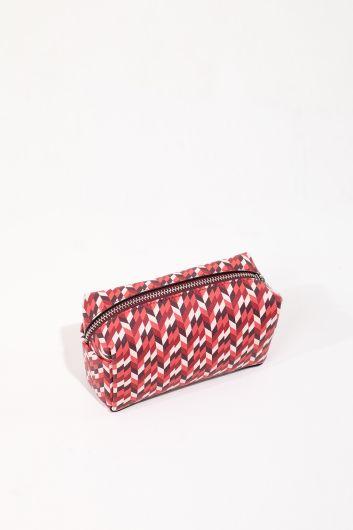 حقيبة مكياج نسائية مزخرفة بسحاب - Thumbnail