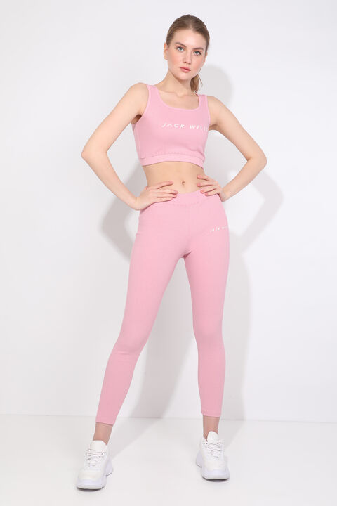 Women's Pink Ribbed Sports Tights Set