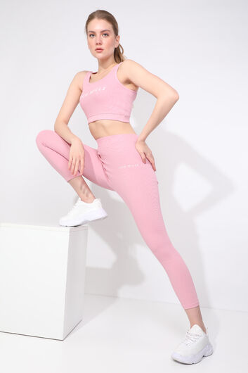 JACK WILLS - Women's Pink Ribbed Sports Tights Set (1)
