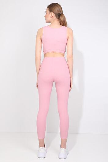 Women's Pink Ribbed Sports Tights Set - Thumbnail