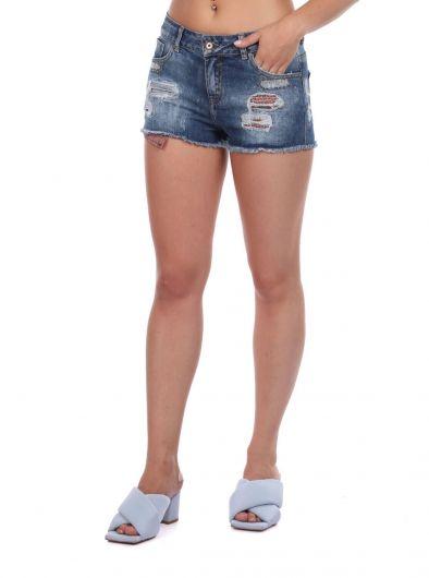 BLUE WHITE - Женские рваные джинсовые шорты с деталями (1)