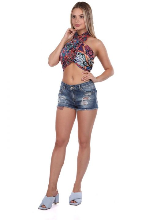 Women's Ripped Detailed Jean Shorts
