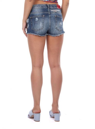 Women's Ripped Detailed Jean Shorts - Thumbnail