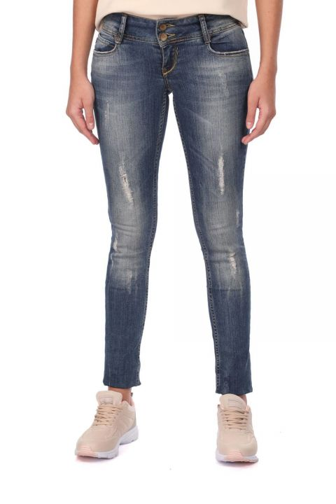 Women's Ripped Detailed Jean Trousers