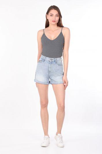 Women's Striped Thin Strap Body Black - Thumbnail
