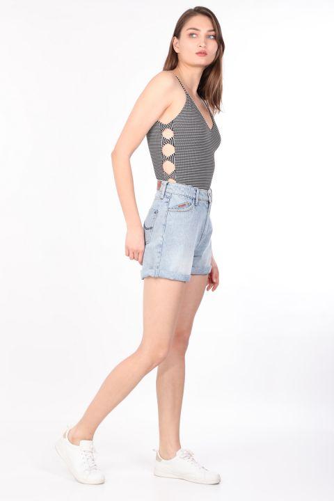 Women's Striped Thin Strap Body Black