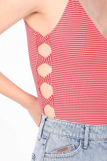 Женский боди с тонким ремешком в полоску красный - Thumbnail