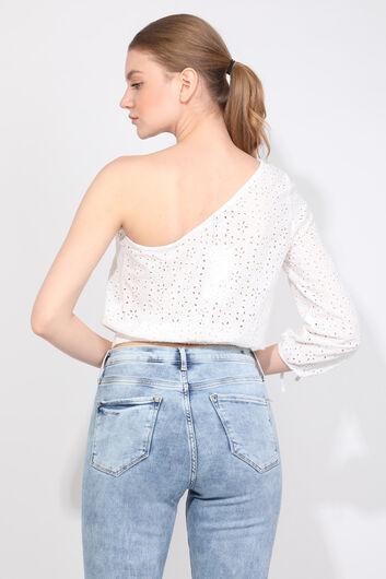 Women's White One Sleeve Scalloped Blouse - Thumbnail