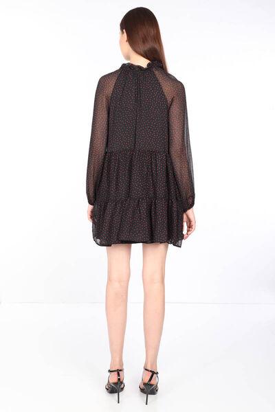 MARKAPIA WOMAN - فستان شيفون أسود منقوش بياقة ربطة عنق نسائي (1)