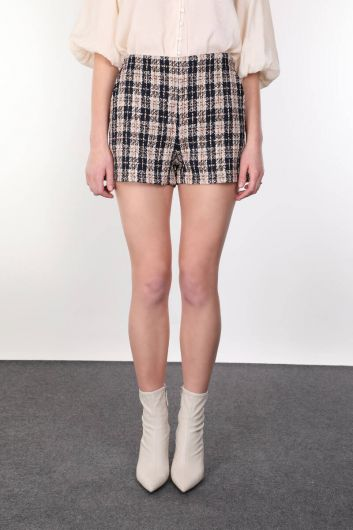 MARKAPIA WOMAN - Thick Woven Plaid Pockets Shorts for Women (1)