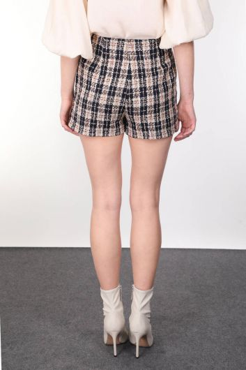 Thick Woven Plaid Pockets Shorts for Women - Thumbnail