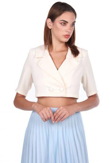 Yaka Detaylı Crop Blazer Ceket - Thumbnail