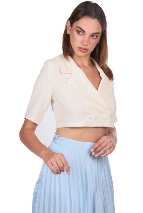 Yaka Detaylı Crop Blazer Ceket