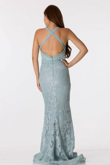 Shecca By Dayi - Back Detailed Lace Fish Evening Dress (1)