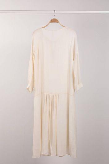 MARKAPIA WOMAN - Воротник с завязками в цвете экрю и макси-платье на подкладке для женщин (1)