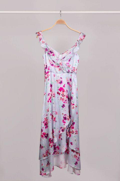 Yakası Fırfır Askılı Kruvaze Lila Çiçekli Kadın Elbise