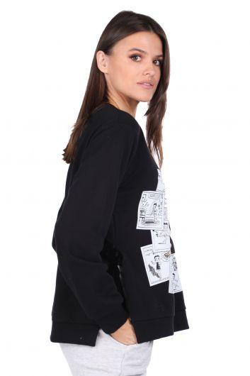 MARKAPIA WOMAN - Yandan Bağlamalı Baskılı Siyah Kadın Sweatshirt (1)