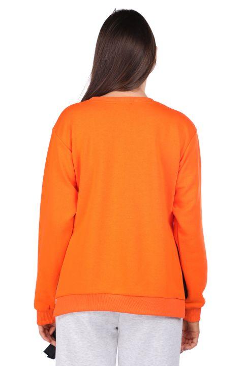 Yandan Bağlamalı Baskılı Turuncu Kadın Sweatshirt