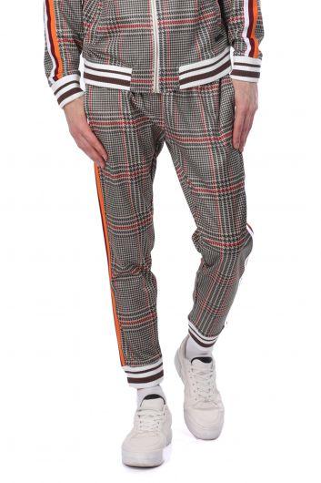 LONSDALE - Нижний мужской спортивный костюм в клетку с полосками по бокам (1)