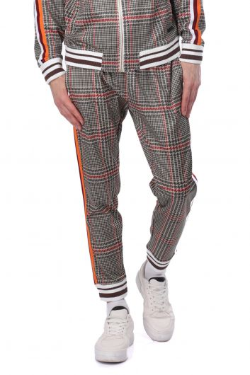 LONSDALE - Men's Checkered Tracksuit Bottom With Side Stripes (1)