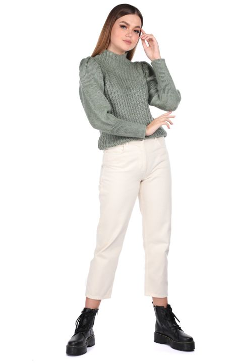 Yarım Boğazlı Karpuz Kol Yeşil Kadın Triko Kazak