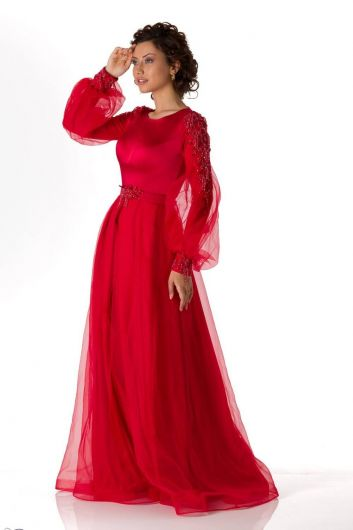 Balon Kollu Tüllü Kırmızı Saten Abiye - Thumbnail