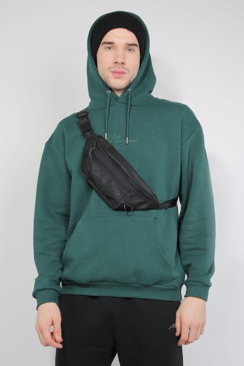 Yeşil Şardonlu Kapüşonlu Erkek Sweatshirt
