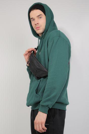 MARKAPIA - Yeşil Şardonlu Kapüşonlu Erkek Sweatshirt (1)