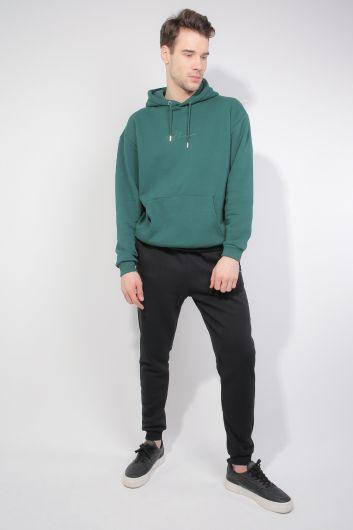 Yeşil Şardonlu Kapüşonlu Erkek Sweatshirt - Thumbnail