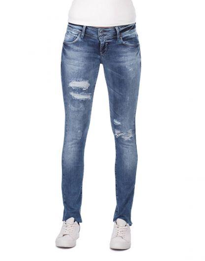 Yırtık Detaylı Skinny Fit Kadın Jean Pantolon - Thumbnail