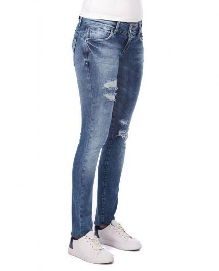 BLUE WHITE - Yırtık Detaylı Skinny Fit Kadın Jean Pantolon (1)