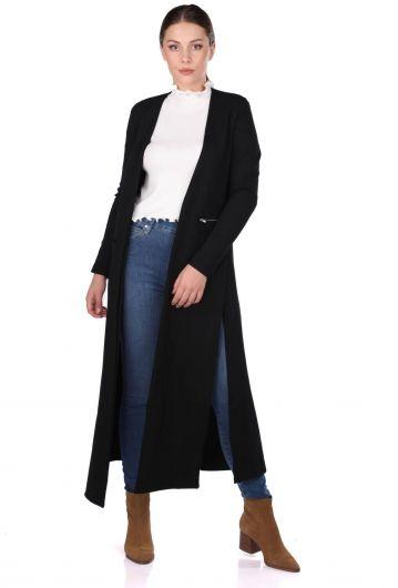Siyah Yırtmaçlı Uzun Kadın Hırka - Thumbnail