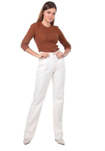 Yüksek Bel Bol Paça Ekru Kadın Jean Pantolon - Thumbnail