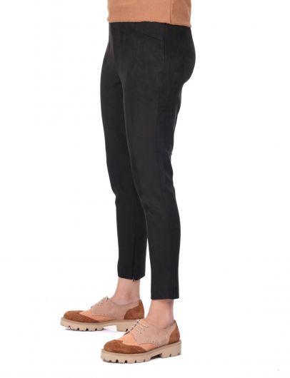 Yüksek Bel Siyah Kadife Pantolon - Thumbnail