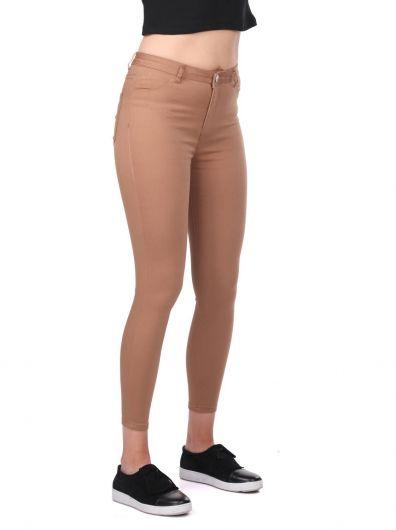 Yüksek Bel Skinny Kahverengi Jean Pantolon - Thumbnail