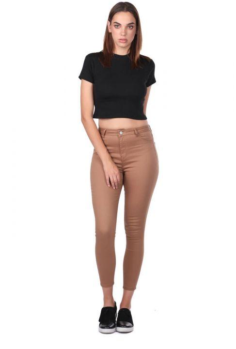 Yüksek Bel Skinny Kahverengi Jean Pantolon