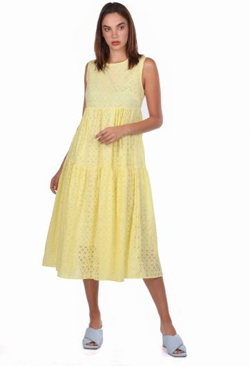 فستان أصفر منقوش صدفي بدون كم - Thumbnail