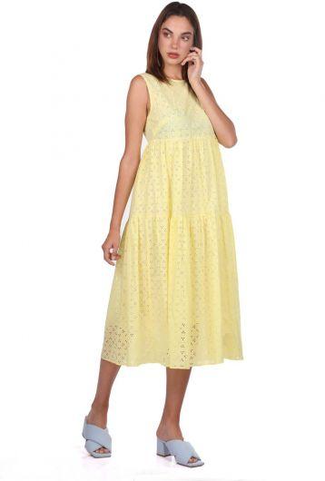 MARKAPIA WOMAN - فستان أصفر منقوش صدفي بدون كم (1)