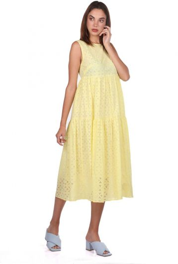MARKAPIA WOMAN - Yellow Fisto Pattern Zero Sleeve Dress (1)