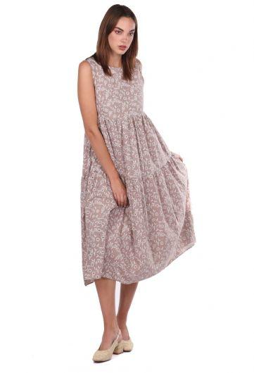 MARKAPIA WOMAN - فستان بني منقوش صدفي بدون كم (1)