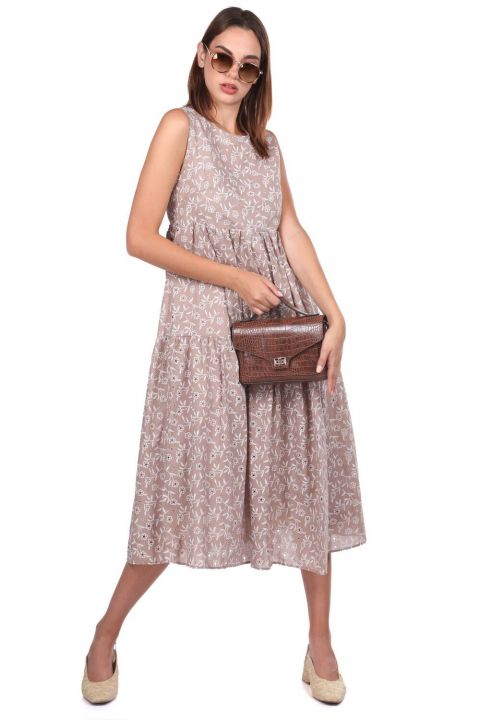 Brown Scalloped Patterned Zero Sleeve Dress